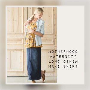 Motherhood Long Modest Denim Jean Maternity Skirt